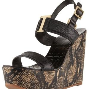 TORY BURCH BLACK ANGELINE SNAKE LEATHER WEDGE US 5